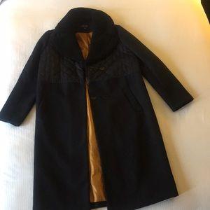 Topshop wool overcoat 8 quilted black or dark navy